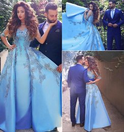 Arabic Dubai Blue Evening Dresses 2018 New Arrival Sheer Half Long Sleeve Vintage Lace with Beads Overskirt Pageant Party Gowns BA9412