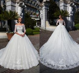 Customize Off Shoulder Half Long Sleeve Retro Lace Wedding Dresses 2018 New Court Train Elegant Church Bridal Gowns Vestido De Novia BA7679