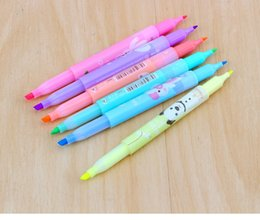 6 pcs lot 2018 new cartoon cute creative focus stud highlighter marker pen marker office school supplies baby gift free shipping 2018 new