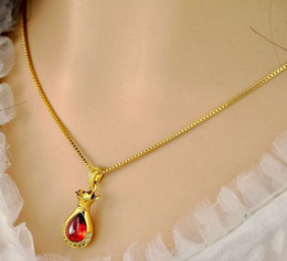 Fast Free Shipping Fine Jewelry Ruby moneybag gold necklace wedding anniversary gold necklace 18K gold filled necklace