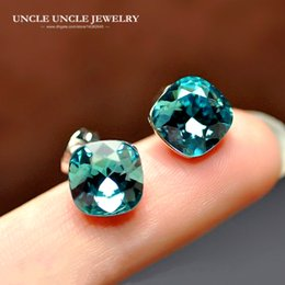 Woman Blue Crystal Square Earring White Gold Color Top Quality Luxury Lady Stud Earrings Wholesale Christmas Gifts
