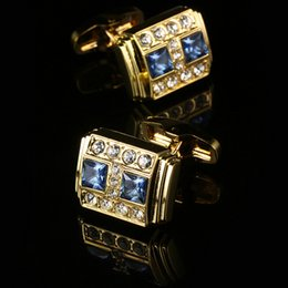French men's fashion Cufflinks quality Gold plating blue crystal Cufflinks for men's luxury jewelry Gold Men's Cuff