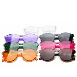 ecbe3617863afa 2018 nouvelle couleur de gelée lunettes de soleil sans monture hommes et  femmes bonbons lunettes de soleil de couleur lunettes monobloc en plastique