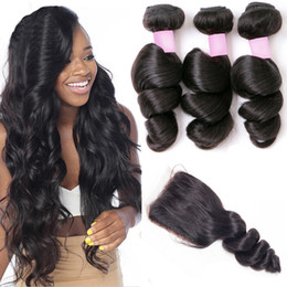 Brazilian Loose Wave Virgin Hair 3 Bundles With Closure Remy Wavy Human Hair Weave With Lace Closure Unprocessed Loose Curly Hair Extensions