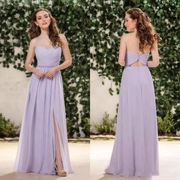 Jasmine Lilac Lavender Chiffon Bridesmaid Dresses 2019 Sweetheart Side Split Floor Length Junior Bridesmaids Dresses Wedding Guest BC0107