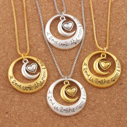"""4Styles Hot Circle Moon Heart I Love You To The Moon and Back 24"""" Pendant Necklaces"""