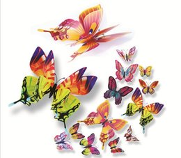 12Pcs set 3D Double layer Butterfly Wall Sticker on the wall for Home Decor DIY Butterflies Fridge Magnet stickers Room Decoration GA74
