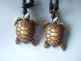 DropShipping wholesale 12pcs tribal Imitation yak bone with Brown carved turtle necklace
