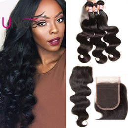 UNice Hair Bundles With Closure Peruvian Body Wave Virgin Free Part Lace Closure Human Hair Extensions Remy Hair Weave Bundles With Closure