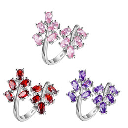 Holiday Gift Antique Red Quartz Pink Amethyst Prasiolite Crystal 925 Sterling Silver Plated Rings Russia Australia USA Wedding Rings