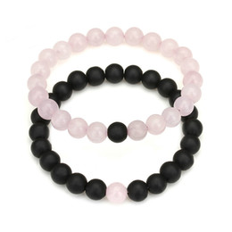 2018 New Yin Yang Distance Couple Bracelet Women Men Fashion Natural Black Lava Stone Mala Beads Bracelets Yoga Jewelry