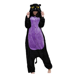 Midnight Cat Adult's Cartoon Cosplay Kigurumi Flannel Costume for Halloween Carnival New Year Party welcome Drop Shipping