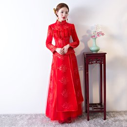 TS26 Long Embroidery Cheongsam Dresses Red Qipao For Women Traditional Dress Chinese Wedding Dress XiuHe suit cheongsam dress Qipao top