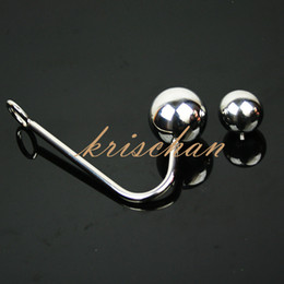 Stainless Steel Anal Hook With Two Balls,Metal Anal Hook Butt Plug,Sex Toys For Men,Fun Adult Games Sex Products