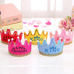 Happy Birthday Party Hats Cute King Cap Princess Crown Baby Shower Decorative Supplies Boy Girl Gifts free shipping high quality 2018 new