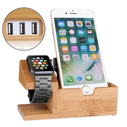 Bamboo Wood 3 USB Ports Desk Charger Stand Charging Station Holder For iPhone X 8 7 7S 6S Plus 5S SE & Apple Watch 38 42mm