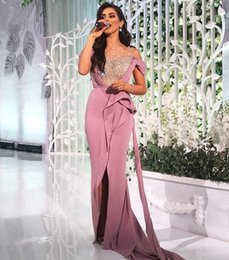 2018 Prom Dresses Middle East Pearls Beaded Sheer Neckline with Blush Pink Split Evening Gowns with Side Sash Train