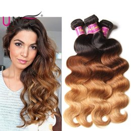 UNice Hair Peruvian Body Wave Ombre Hair Bundles T1B 4 27 16-26 inch 100% Human Hair Extensions Virgin Ombre Bundles Bulk Wholesale
