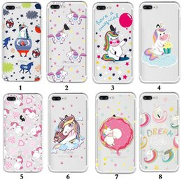 Cartoon Cute Unicorn Pattern Clear Soft TPU Phone Case For Iphone X 8 PLUS 7 6S 6 PLUS 5S Samsung S9 Plus S9 S8 S7 S6