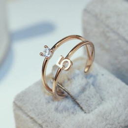 Number 5 Charms Rings Fashion Zircon Ring Vintage Rose Gold Plated Celebrity Charms Rings for Women   girl's Party Costume Jewelry