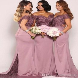 2019 Off the Shoulder Bridesmaid Dresses New Vintage Lace Top Beaded Cheap Wedding Maid of Honor Gowns Long Formal Gowns