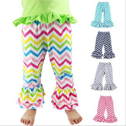 new style double ruffle leggings girl cotton triple ruffled rainbow colourful chevron zig zag pants
