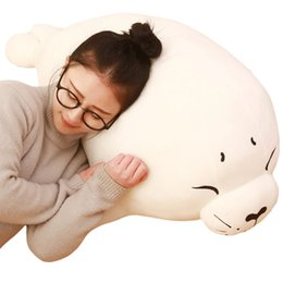 Dorimytrader Giant Soft Cartoon Animal Arctic Seal Toy White Bear Doll Sea Seal Pillow for Kids Gift 39inch 100cm DY61055