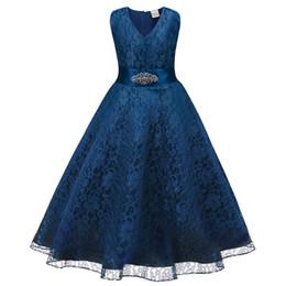 Summer girls sleeveless dress skirt + diamond belt girls wedding dress