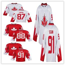 Men Team 87 Sidney Crosby 88 Brent Burns 91 Steven Stamkos 91 Tyler Seguin 2016 World Cup of Hockey Olympics Game Red white S-3XL