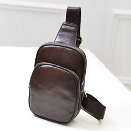 Men Vintage Cowhide Genuine Leather Bag Chest Pack Messenger Travel Shoulder Cross Body Sling Pack Chest Casual Bag