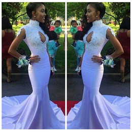 Cheap Sale 2018 High Neck Lace Appliques Slim Prom Dresses White Custom Online Lace Appliques Beaded Formal Evening Party Gowns African