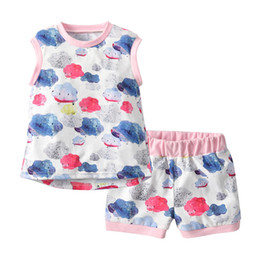 Baby Clothes Boys and Girls Cartoon Cloud Flower Printed Casual Suits Sets Children Clothes T-shirt+Pants 2pcs Suit