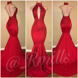 2019 Red High Collar Mermaid Sexy Prom Dresses See Through V Neck Backless Court Train Evening Gowns With Gold Lace Appliques