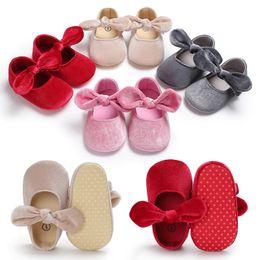 New Christmas Baby Kids Gold velvet designer Princess Shoes With Butterfly-knot Infant toddler Soft sneakers Footwear Prewalker First Walker
