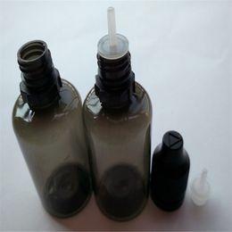 Wholesale 30ml PET Plastic Black E Liquid Bottles With Childproof Bottle Cap And Long Thin Tip Dropper Ejuice Bottles