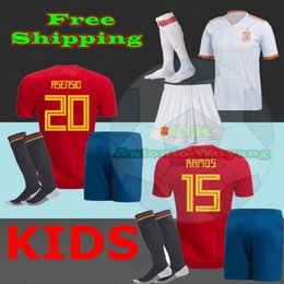 2018 Spain kids Jerseys home away soccer kit childs baby football shirt 18-19 MORATA ISCO ASENSIO Football uniforms sales