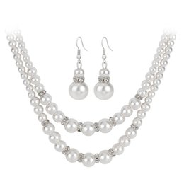 Classic Luxury Double Chain Pearl Jewelry Set Women Engagement Simulated Pearl Necklace Earrings Jewelry Vintage Crystal Jewelry