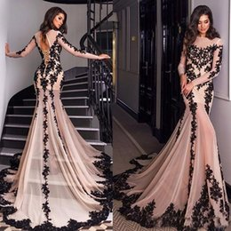 Vestido De Festa 2019 Black Applique Lace Mermaid Evening Dresses with Sheer Long Sleeves Sweep Train Prom Gowns