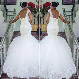 South African Nigerian Black Girls Mermaid Wedding Dresses Beaded Sequins Sweep Train Backless Wedding Dress Arabic Bridal Wedding Dresses