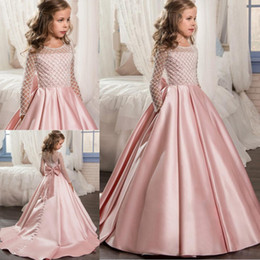 2019 Beaded Satin Flower Girls Dresses For Wedding Little Kids Birthday Party Dress Long Sleeves First Communion Dresses Girls Pageant Gowns
