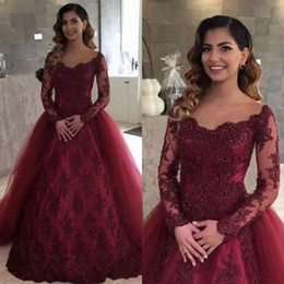 Fashion Burgundy Lace Sheer Long Sleeves Evening Dresses 2018 Arabic Ball Gown Tulle Lace Beads Formal Prom Gowns Vestidos De Fiesta BA7650