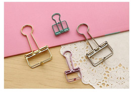 Cute Kawaii Colorful Metal Paper Clips Binder Clip For Photo Message Ticket File Office School Supplies Clips Korean Stationery free ship