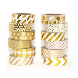 High quality Gold foil 10m paper tape dot,strip,pineapple,heart Christmas decorative washi tape 1pc free shipping 2016 new high quality hot