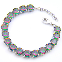 Luckyshine 6Pcs Fire Round Colored Red Mystic Topaz Gems 925 Silver Cz Zircon Bracelets Australia USA Fashion Bangles Bracelets Jewel