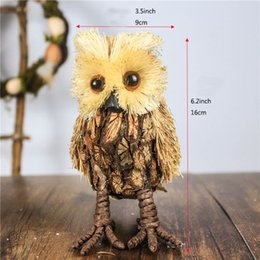 "H6.2"" Set of 2 Stand Owl Decoration Figurines Ornament Natural Real Straw&Wood Toy Decorations for Home Craft Christmas Party Owl Decor"