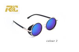 2018 RRC Retro Rivet Round Sunglasses Men Polarized Lens Shades Oculos Male Black Plastic Vintage Sun Glasses For Men Brand