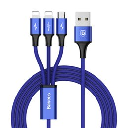 Baseus 120CM USB Cable For iPhone X 8 7 6 Charging Charger 3 in 1 Micro USB Cable For Android USB Type c Type-c Mobile Phone Cables
