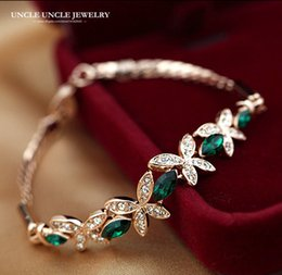 Fresh Olive Branch Coming Rose Gold Color Austrian Green Crystal Butterfly Element Woman Bracelet Wholesale