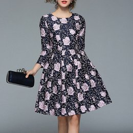 A word dress spring foreign trade women's fashion round neck high-end jacquard European and American temperament Slim sleeve