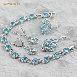 Light Blue Wedding Jewelry Sets - Wholesale AAA Zircon Geometry Silver Plated Pendant Drop Earrings Ring Bracelet For Women Rings Size 6-10
